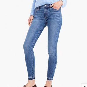"J Crew 8"" Toothpick Jeans With Frayed Hem"